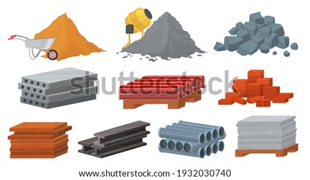 Construction materials set, flat vector illustration. Pile of sand, cement, stones, bricks. Concrete mixer. Stack of gypsum blocks, metal roof, tile, wooden planks. Materials for building industry.