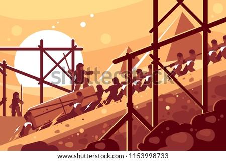 Construction of Egyptian pyramids. Slaves move blocks for building. Vector illustration Foto stock ©