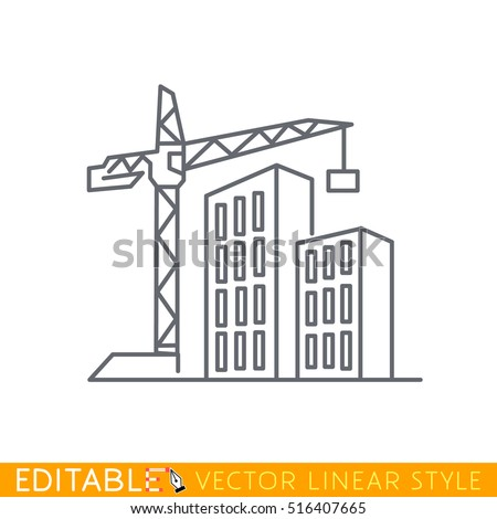 Construction of new buildings. Editable outline sketch icon.