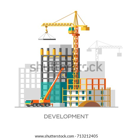 Construction of residential houses. City development concept design. Flat style vector illustration.