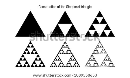Construction of the Sierpinski triangle. It is a fractal with the overall shape of an equilateral triangle, subdivided recursively into smaller equilateral triangles.