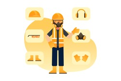 Construction Or Contructor Man Standing And Wearing Safety Equipment Surrounden By Yellow Hard Helmet, Headphone, Glasses, Mask, Boots and Gloves Icon Vector