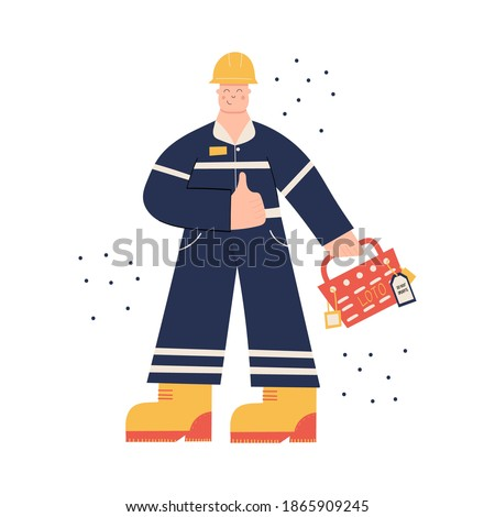 Construction or factory industrial worker wearing hard hat, work clothing and boots. Worker LOTO box, locks; tags. Health and safety at work. PPE. Lock out Tag out Foto stock ©
