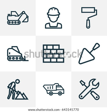 Construction Outline Icons Set. Collection Of Tools, Tipper, Trowel And Other Elements. Also Includes Symbols Such As Construction, Paint, Builder.