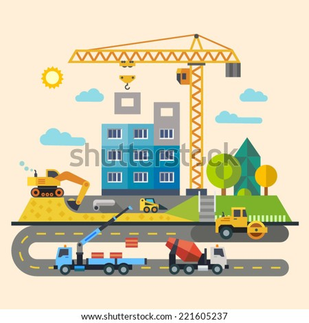 Construction. Process, tools, and materials: building, crane, excavator, bulldozer, tractor, sand, stone, cement. Vector flat illustration