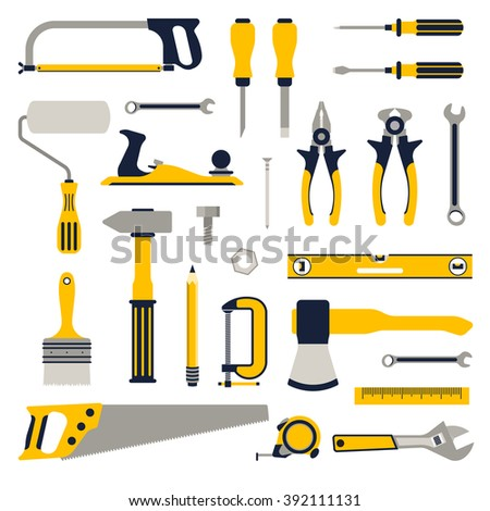 Construction repair tools flat icon set. Tools home repair set. Isolated tools icon flat set. Tool set. Tools flat. Repair tools. Remodel tools.
