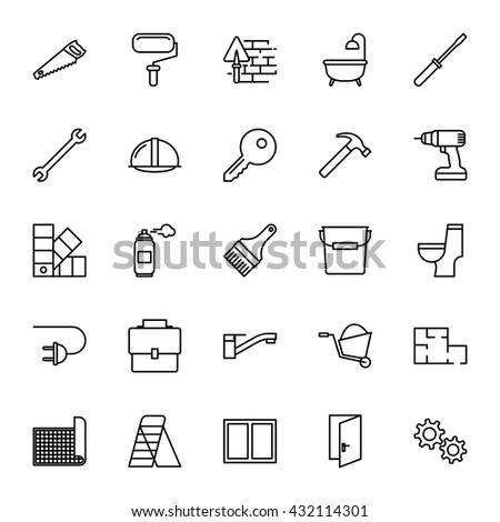 Construction, repair tools. Set of vector icons. Outline style