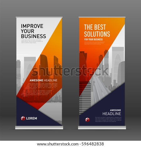 Construction roll up banner design template. Abstract geometry with colored cityscape vector illustration on background.