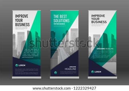 Construction roll up banner design templates set. Abstract geometry with colored cityscape vector illustration on background.