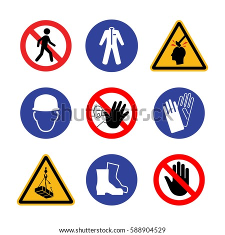 Construction safety & danger sign set. Wear protection: gloves, boots, robe, helmet. Do not enter / do not touch. Caution: heavy objects may fall. Vector illustration.