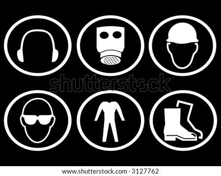 construction safety symbols breathing apparatus ear eye head protection - stock vector