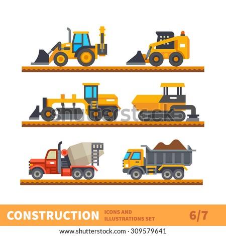 Construction set. Transport and tool for construction. Transport of gravel, concrete workpiece, asphalting. Vector flat illustration
