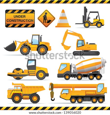 Construction set Vector vehicles and tractors