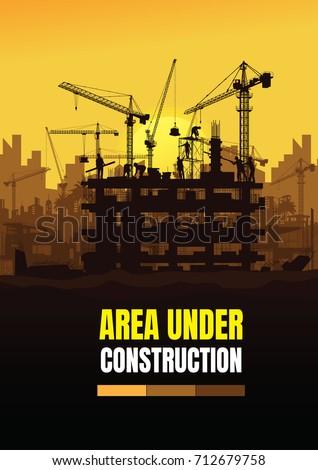 Construction silhouette background,Construction crane silhouette vector,Construction info graphics,Building under Construction site.