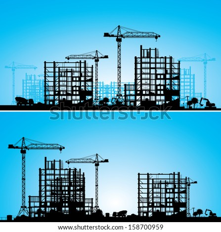 Construction site. A silhouette on a blue background. Vector illustration.