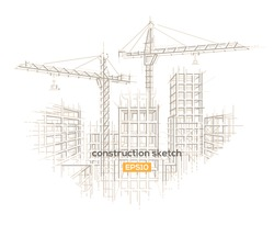 Construction site architectural sketch drawing. Vector, layered.