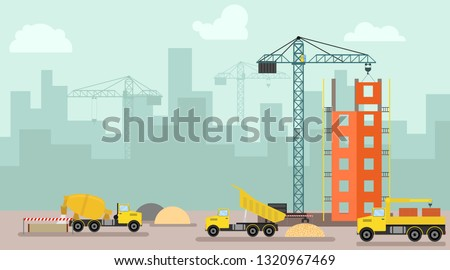 Construction site, building a house. Building poster in modern style. Process of construction of residential houses isolated. Big building dormitory area.