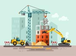 Construction site, building a house - vector flat illustration.