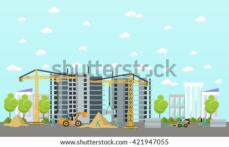 Construction site concept vector banner. Building under construction, workers and machines, crane.