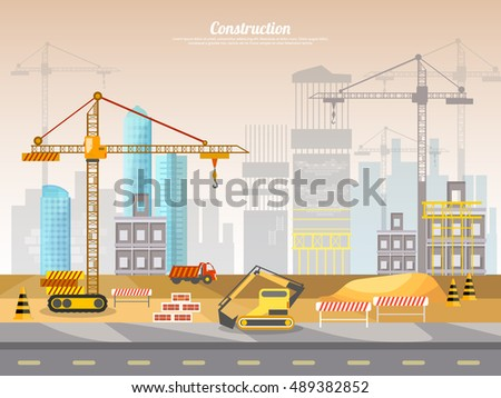 Construction site industrial background building a house vector illustration