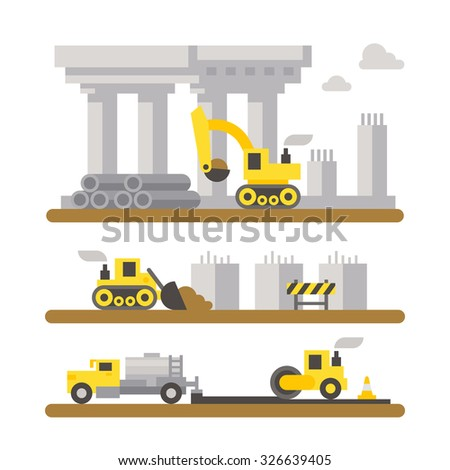 Construction site machinery flat design illustration vector