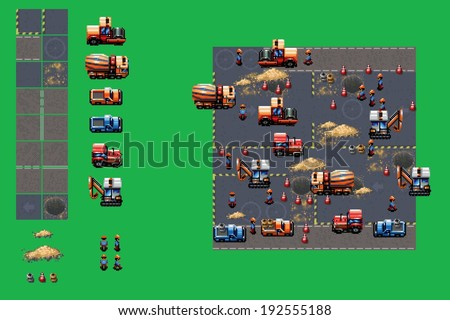 construction site - pixel art video style game elements vector illustration set