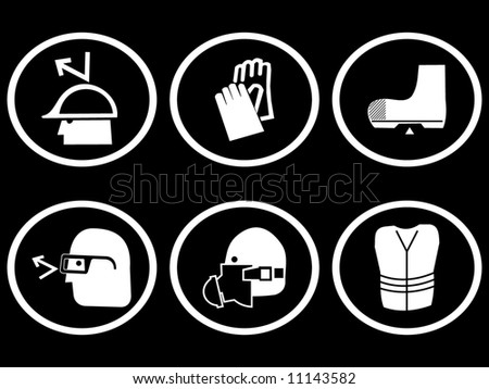 construction site safety symbols for head hands and feet illustration