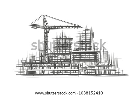Construction site sketch, hand drawn, vector.