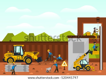 Construction site. The construction of the building. Isolated elements. Builders are doing their job. Front loaders. Fences. Against the background of trees and sky.