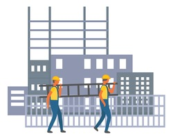 Construction site, two builders walking, carrying ladder near fence, men workers in protection overalls and helmets, silhouette of unfinished houses at background, flat style cartoon illustration