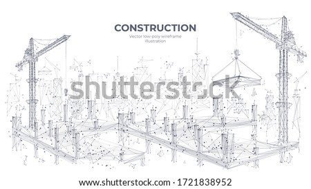 Construction site with building equipment isolated in white background. 3d working tower cranes in the city. Abstract polygonal concept of construction. Vector sketch illustration ストックフォト ©