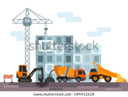 Construction site with construction equipment and transport. flat vector illustration isolate on a white background