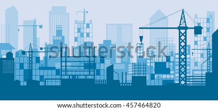 Construction Skyline, Scene, Blue Background, Site, City, Urban, Facility