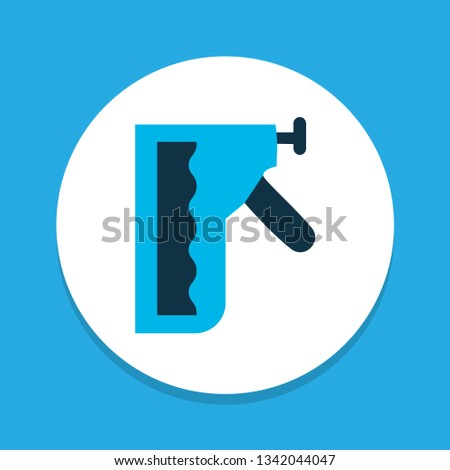 Construction stapler icon colored symbol. Premium quality isolated staple gun element in trendy style.