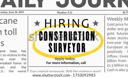 Construction surveyor - job offer. Newspaper classified ad career opportunity. Foto stock ©