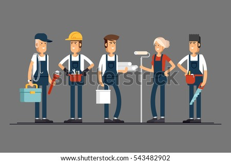 Construction team characters such as painter, electrician, carpenter, plumber, engineer. Group of construction workers building a house and friendly smiling. Civil engineer, architect