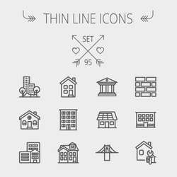 Construction thin line icon set for web and mobile. Set includes - museum, house with solar panel, bridge, building, bricks, hotel. Modern minimalistic flat design. Vector dark grey icon on light grey