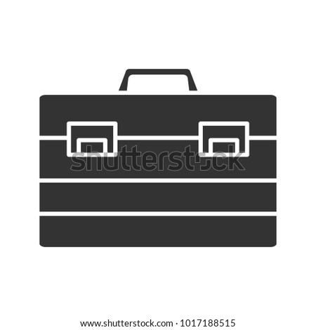 Construction toolbox glyph icon. Toolbag. Silhouette symbol. Negative space. Vector isolated illustration