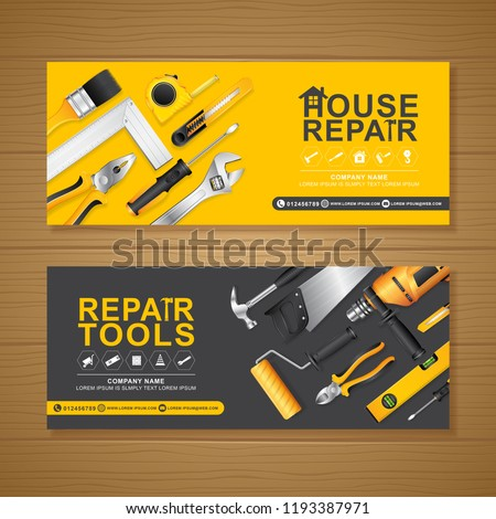 construction tools banner template for a report and brochure design, flyer, leaflets decoration for printing and presentation vector illustration