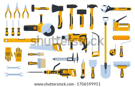 Construction tools. Building repair hand tools, renovation kit, hammer, saw, drill and shovel. Home repair tool vector illustration icons set. Repair tool, hammer and trowel, paintbrush and saw