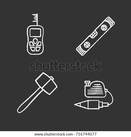 construction tools chalk icons