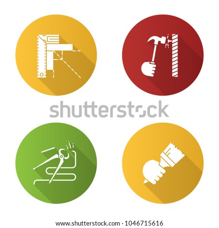 Construction tools flat design long shadow glyph icon. Set square, hammering nail, carpenter's end cutting pliers, paint brush in hand. Vector silhouette illustration
