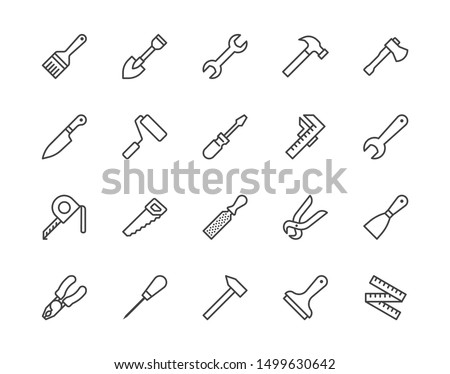 Construction tools flat line icons set. Hammer, screwdriver, saw, spanner, paintbrush vector illustrations. Outline signs for carpenter, builder equipment store. Pixel perfect. Editable Strokes.