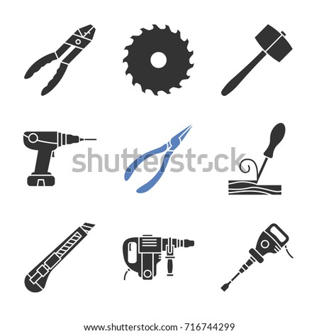 Construction tools glyph icons set. Combination pliers, circular saw blade, power drill, wood chisel, stationery knife, perforator, paving breaker. Silhouette symbols. Vector isolated illustration