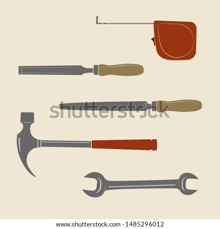 Construction tools icons. Roulette, chisel, file tool, wrench, hammer.