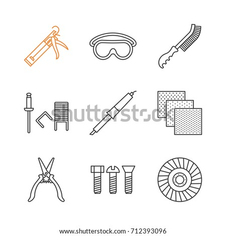 Construction tools linear icons set. Caulking gun, goggles, wire brush, stapler pins, emery paper, metal bolts, abrasive flap wheel. Thin line contour symbols. Isolated vector outline illustrations