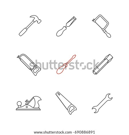Construction tools linear icons set. Hammer, chisels, hacksaw, fretsaw, hand saw, jack plane, screwdriver, wrench. Thin line contour symbols. Isolated vector outline illustrations