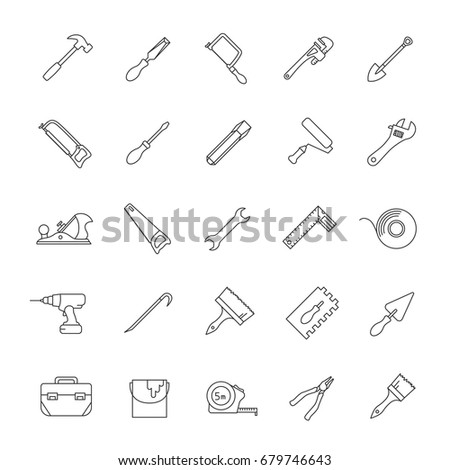 Construction tools linear icons set. Renovation and repair instruments. Spanner, shovel, hammer, paint brush, crowbar. Thin line contour symbols. Isolated vector outline illustrations. Editable stroke