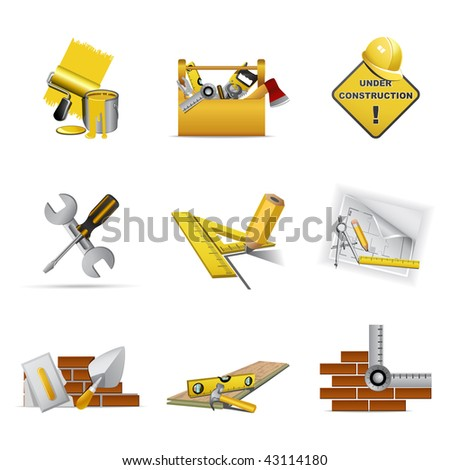 Construction tools, part 1 - stock vector