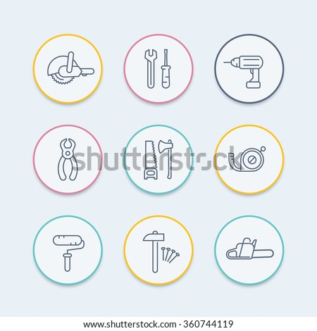 construction tools thin line icons, wrench, drill, saw icon, vector illustration